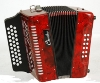 ACCORDEON DIATONIC 12 BASSES TONALITES DO/SOL/FA - rouge marbré